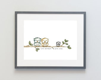 Hand Painted Watercolor Archival Giclée Print - Owl Always Love You - Owls on Branch