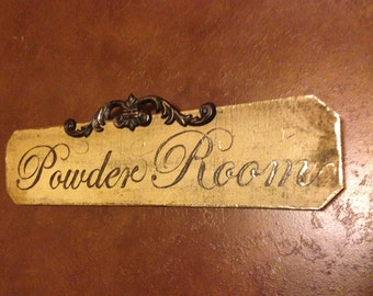 Hand Painted Powder Room Sign