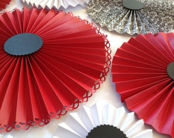 Paper rosettes in RED, BLACK and WHITE/Pinwheels / Paper fans/ Wedding décor/ Backdrop/ Bridal shower/Engagement / Hens party / Set of 20