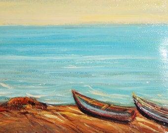 Impressionist seascape vintage oil painting
