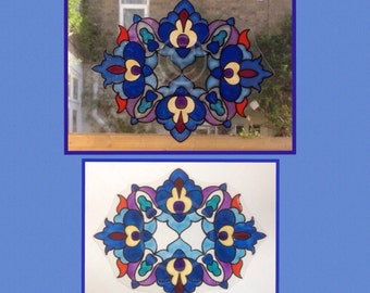 Floral decorative window cling design, hand painted for glass & mirror surfaces, reusable decal, faux stained glass suncatcher, static cling