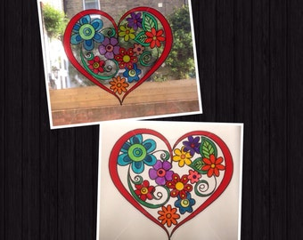 Flower filled heart window cling decoration, hand painted for glass & mirror surfaces, reusable static cling faux stained glass decal