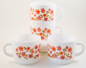 Orange Floral Arcopol Cups and Saucers - France Milk Glass