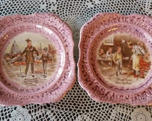 Lancaster SandLand Ware Collectible Plates-Oliver Twist Ask for More and Micawber Introduces David to London