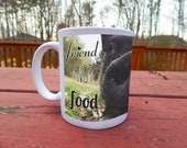 """Pig Nose """"Friend Not Food"""" Vegetarian Vegan Photo Coffee Mug with Poppyseed the Potbellied Pig"""