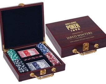 100 Chip Poker Set in Rosewood Case