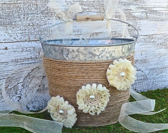 Wedding Flower Girl Basket, Rustic Wedding, Burlap Ribbon, Ivory Flowers, Wedding Basket Bridal Basket, Rustic Wedding