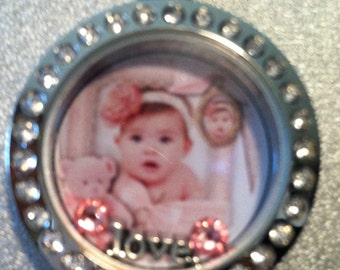 Baby Floating Locket Necklace, will add your baby's picture to the front and their name etc. to the back.