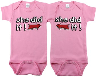 Twin Girl Gift Set, She Did It!, Girl Twins, Twin Girls, sizes from 0 to 12 months, Twin Baby Gifts
