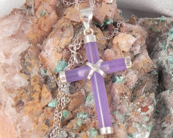 Amethyst and Sterling Crusifix Pendant and Chain