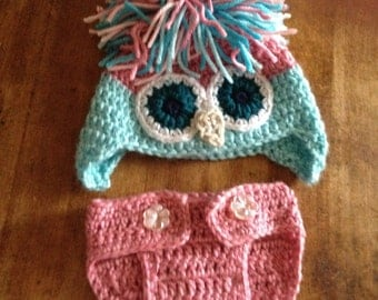 Owl Hat & Diaper Cover