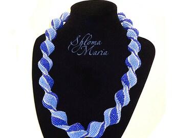 "Bead Crochet Necklace ""Blue truffles"""