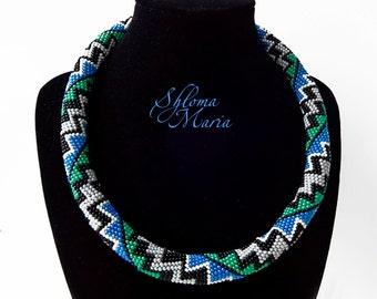 "Bead Crochet Necklace ""Blue Sea"""