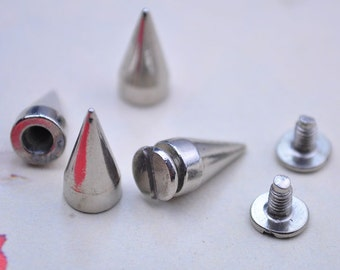 30pcs Silver Spike Bullet Studs-13x7mm Metal Studs with Screwback Rivets