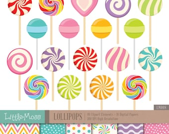 Lollipop Digital Clipart and Papers