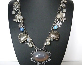 "Victorian style ""Abundance"" stone necklace natural agate, silver, glass beads"