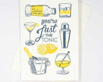 Just The Tonic Letterpress Greeting Card