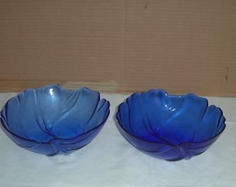 A pair of Cobalt blue bowls. Leaf pattern. Bristol Blue.