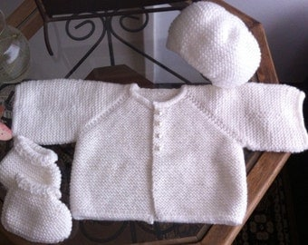 Hand knitted baby set white, sweater/cardigan, hat and booties