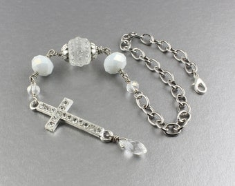 Six Inch Adjustable Chain w. Clasp Ready To Hang Rear View Mirror Cross Ornament/Clear & White Crystal w. Rhinestone Cross Car Mirror Charm
