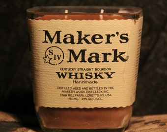 Upcycled Maker's Mark Whisky Candle - Recycled Bourbon Bottle Candle Handmade Soy Candle 750ml Recycled Glass Bottle 18oz Soy Wax