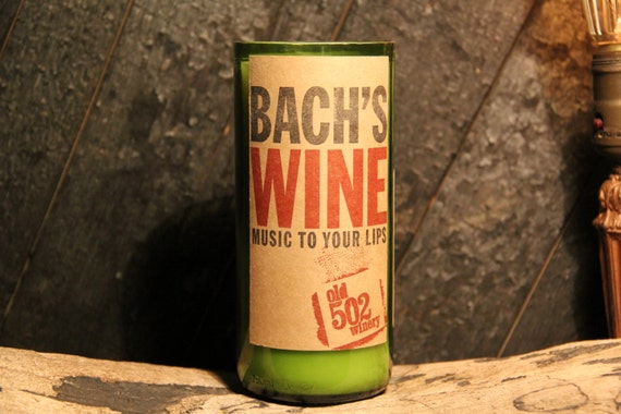 Upcycled Wine Candle - Bach's Wine Recycled Wine Bottle 22 oz. Soy Candle Handmade from local KY WInery Old 502