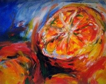 Oranges, original acrylic painting, 21x29.7cm