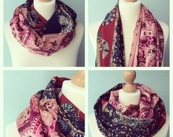unique - one of a kind - circle scarf made from two upcycled vintage scarves