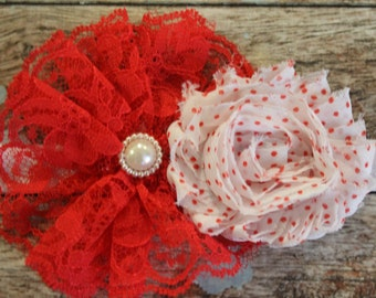 Christmas headband, red lace headband, Christmas baby bow, Holiday headband, shabby chic red and white headband