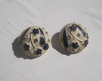 Signed BSK Black, Cream and Rhinestone Button Earrings