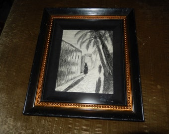 ORIGINAL CHARCOAL ART Wall Hanging Signed Carson