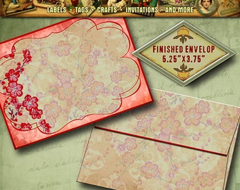"""014 Small Envelop for Cherry Blossoms Thank You Card, RSVP card  size 3.625"""" x 5.25"""""""