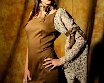 feminine asymmetrical jersey dress