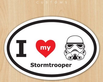 "I Love My Stormtrooper 4.5"" x 3"" Vinyl Decal - Oval - Free Shipping"