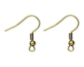 Ear Wire, Antiqued Brass Ear Eire, 19mm Earwire, 22 gauge, 20 pair, D272