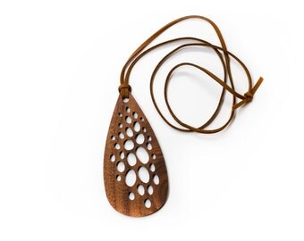 Necklace - Suede Cord with Teardrop Walnut Wood Pendent