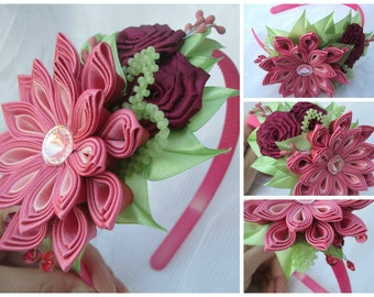 Tsumami kanzashi flower headband,Kanzashi Flower,Flower Headband ,bow headband,women headband,girl flower headband