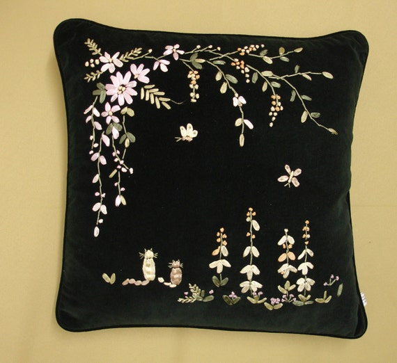 Dark green velvet ribbon embroidery cushion cover cu