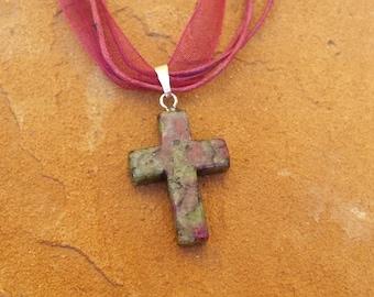 Cross, Burgundy/Moss Green Dyed  on Burgundy Organza Ribbon.