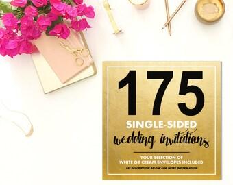 175 SINGLE-SIDED Wedding Invitations w/Envelopes