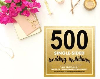 500 SINGLE-SIDED Wedding Invitations w/Envelopes