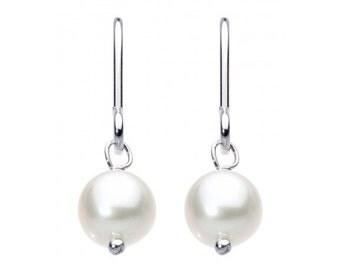 Sterling Silver Bridal Pearl Drop Earrings Christmas Gift
