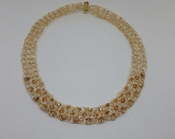 Swarovski Crystals and Silver Crocheted Necklace
