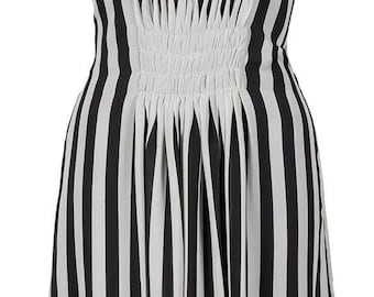 Black White stripe pleated chiffon dress