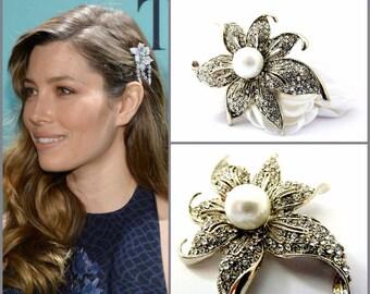 Celebrity Inspired Rhinestone Flower Hair Clip, Rhinestone & pearl Hair Clip,Crystal Flower Bridal Hair Clip,Wedding Hair Clip,Bridal Flower