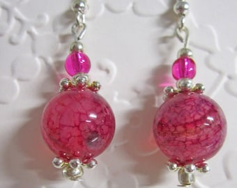 Pink and Silver drop Earrings