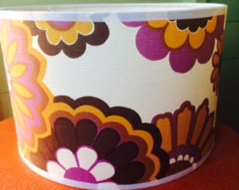 Lamp shade hand covered in 70's wallpaper