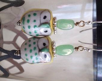 Yellow Owl Glass Bead Earrings