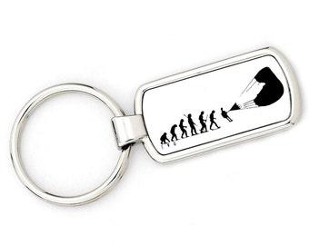 Mans Evolution Keyring Ape to Paraglider (paragliding) metal key ring gift present