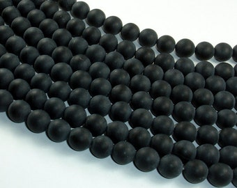 Matte Black Onyx Beads, Round, 8mm, 15.5 Inch, Full strand, Approx 50 beads, Hole 1mm, A quality (140054014)